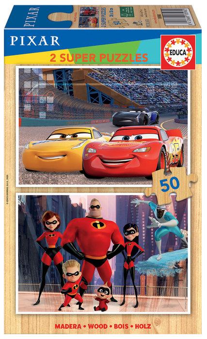 Puzzle 2x50 piezas disney pixar cars + los increibles