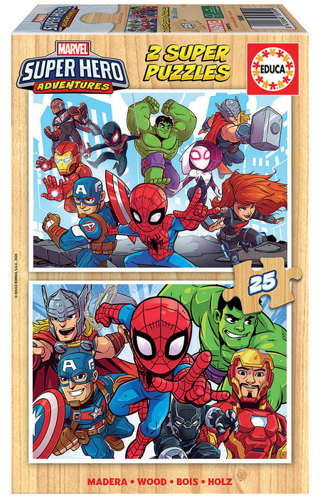 Puzzle 2x25 piezas marvel super heroe adventures