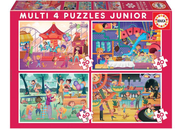 Puzzle 4 junior 20-40-60-80 pzs p.atracciones + f. infantil