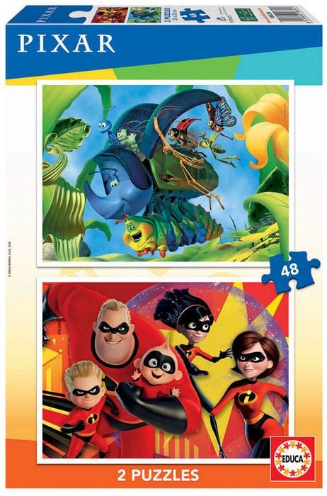 Puzzle 2x48 pixar (a bug´s life + increibles)