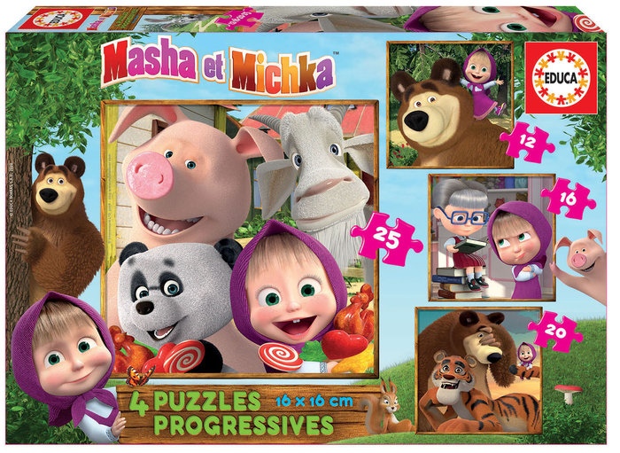 Puzzle progresivos 12-16-20-25 piezas masha & micka