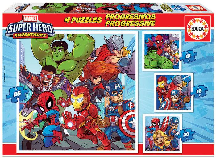 Puzzle progresivos marvel super heroe adventure 12-16-20-25