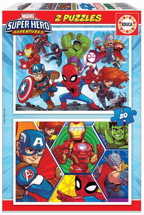 Puzzle 2x20 piezas marvel super heroe adventures