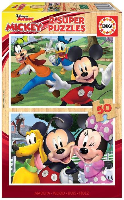 Puzzle educa madera 2x50 mickey & friends