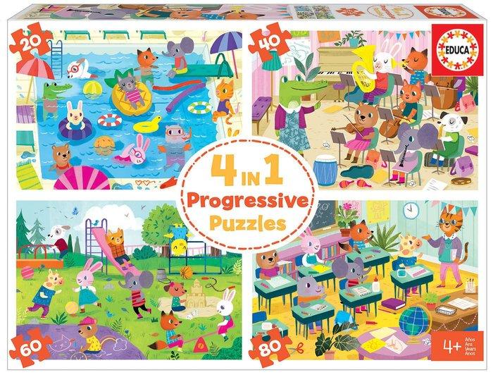 Puzzle educa 4 in 1 puzzles un dia en la escuela 20-40-60-80