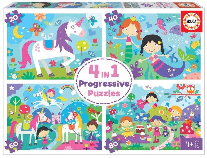 Puzzle educa 4 in 1 puzzles mundo de fantasia 20-40-60-80