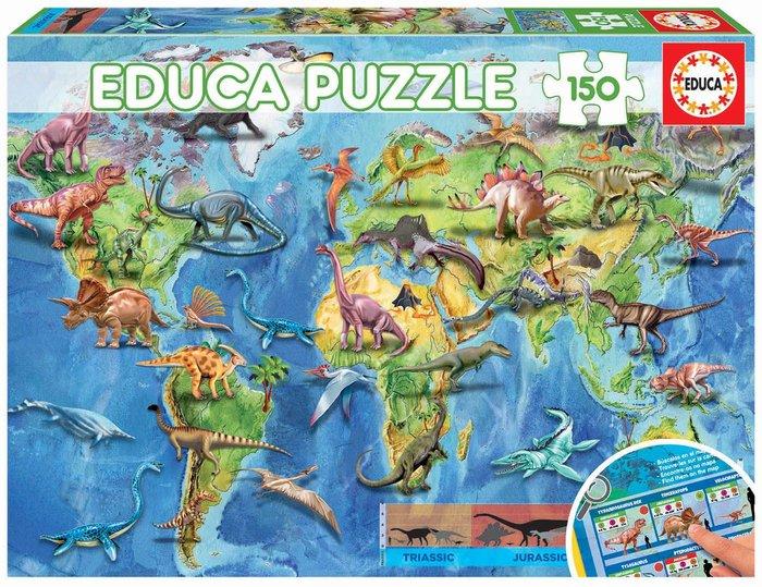 Puzzle educa 150 piezas mapamundi dinosaurios