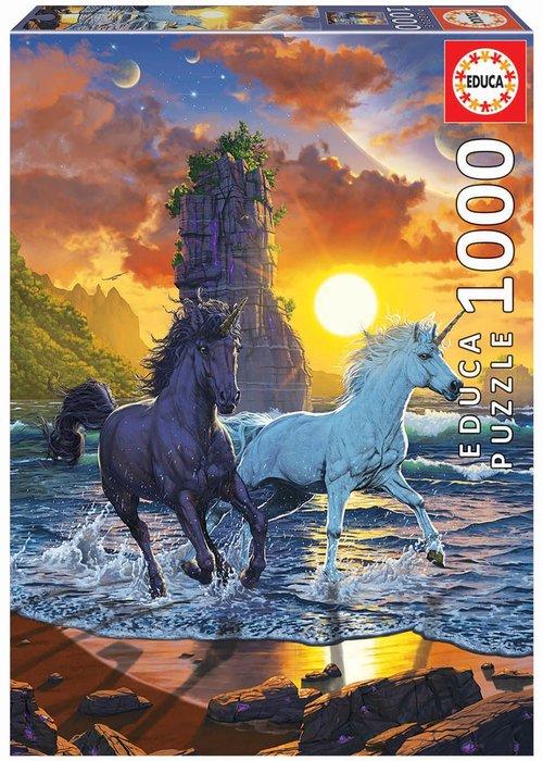 Puzzle educa 1000 piezas unicornios en la playa, vincent hie
