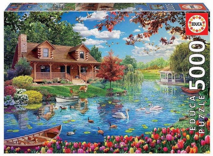 Puzzle educa 5000 piezas casita en el lago