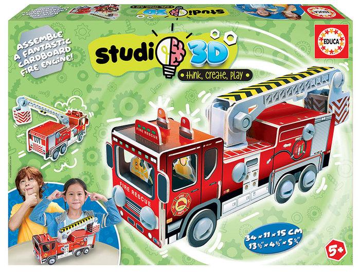 Puzzle coche de bomberos studio 3d