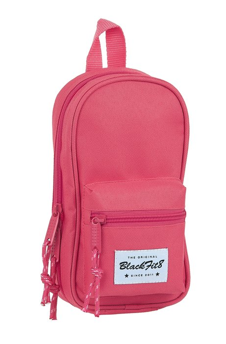 Plumier mochila con 4 portatodos vacios blackfit8 fresa