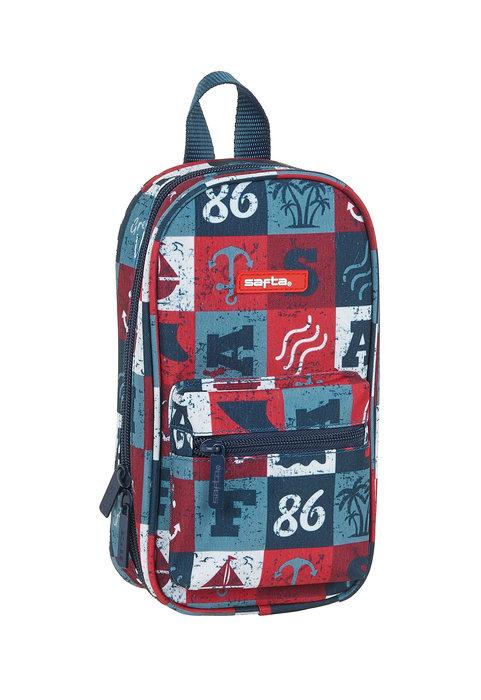 Plumier mochila con 4 portatodos vacios safta red vibes