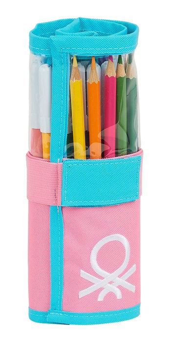 Plumier enrollable 27 pcs. benetton color block