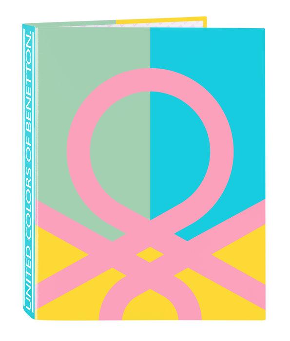 Carpeta carton fº 4 anillas mixtas benetton color block