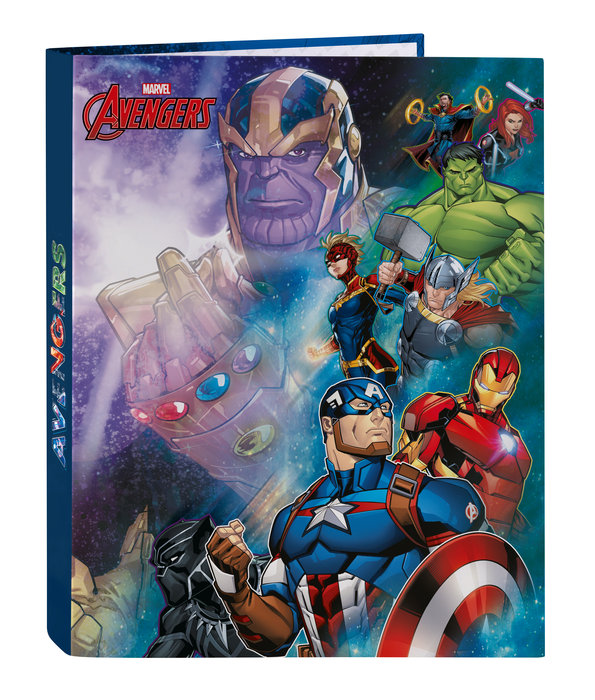 Carpeta carton fº 4 anillas mixtas avengers heroes vs thano