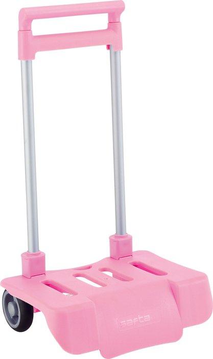 Carro portamochilas plegable rosa
