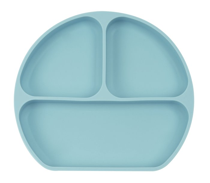 Plato silicona con ventosa azul