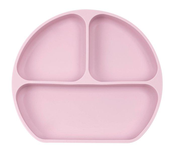 Plato silicona con ventosa rosa