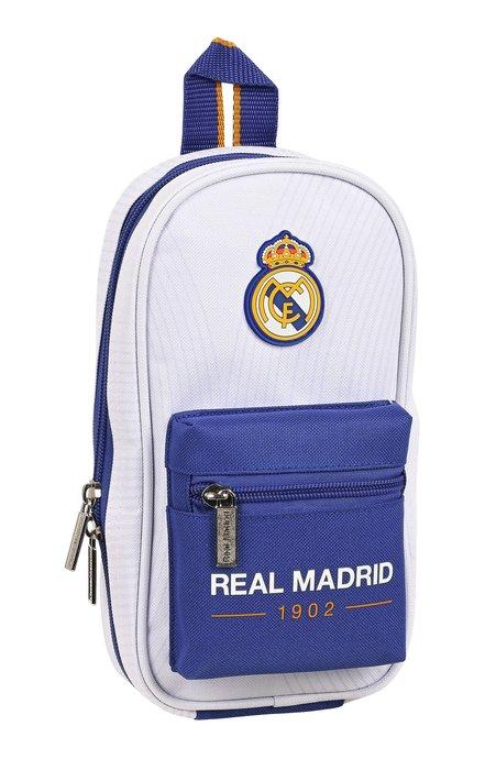 Plumier mochila con 4 portatodos llenos real madrid 1ª equip