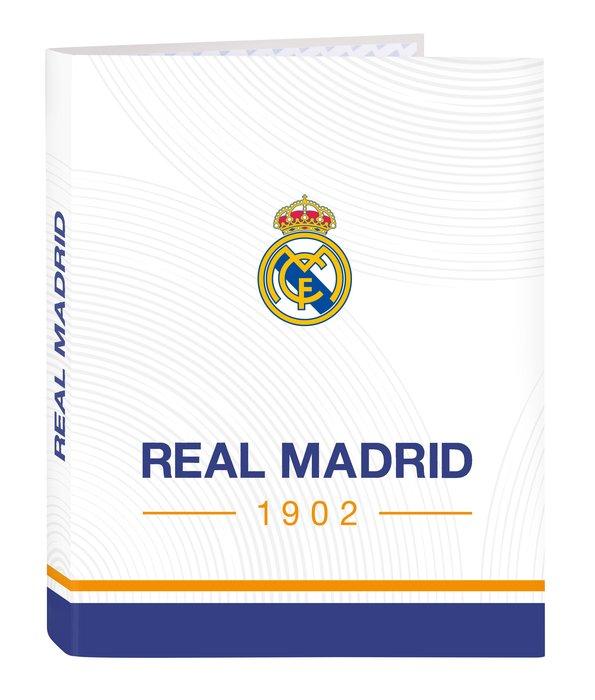 Carpeta carton folio 4 anillas mixtas real madrid 1ª equip.