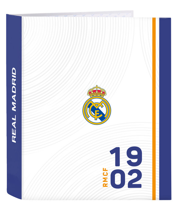 Carpeta carton folio 4anillas lomo ancho real madrid 1ª equi