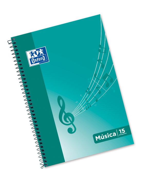 Cuaderno musica folio 20h oxford school 15 pentagramas 2mm