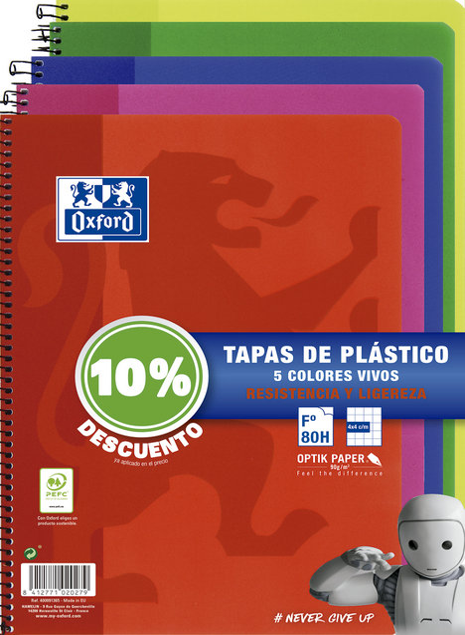 Pack 5 bloc folio 80h 90gr cuadro 5mm pp school tendencia