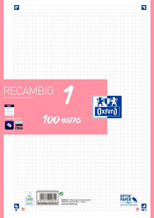 Recambio 1 tapa blanda a4+ 100h cuadro 5mm rosa chicle 90gr