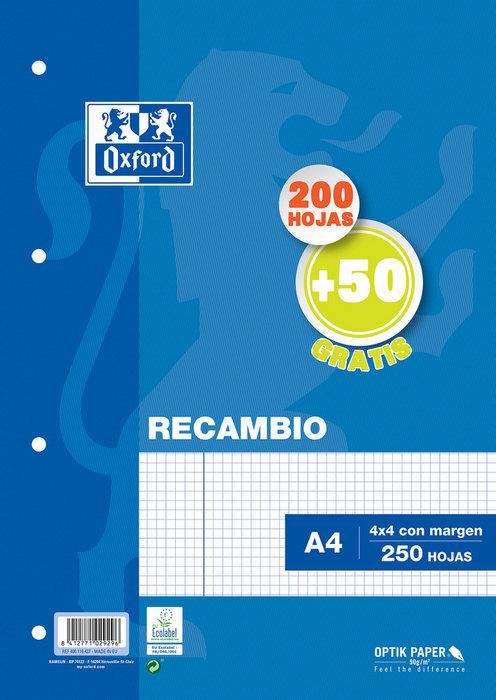 Recambio a4 cuadro 4mm 200h+50h con margen azul