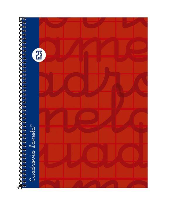 Cuaderno 4º forrado cuadrovia 2.5mm 80h tapa dura rojo