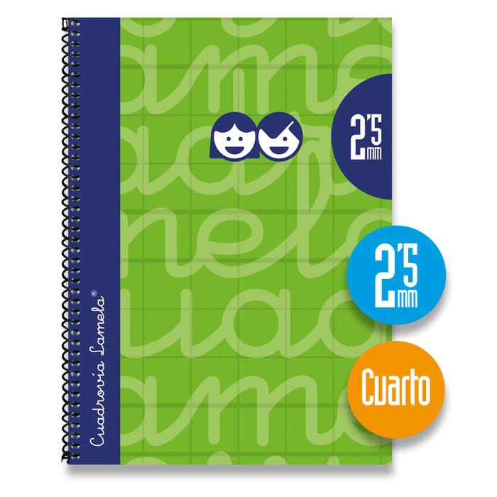 Cuaderno 4º forrado cuadrovia 2.5mm 80h tapa dura verde