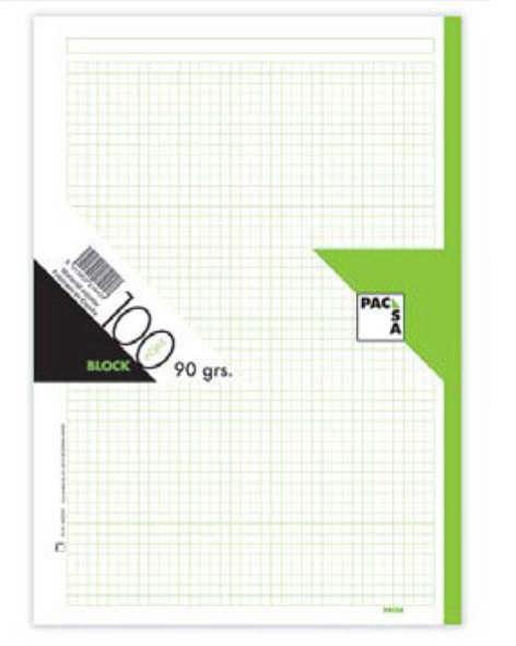 Recambio a4 100h 90gr cuadro 5mm verde