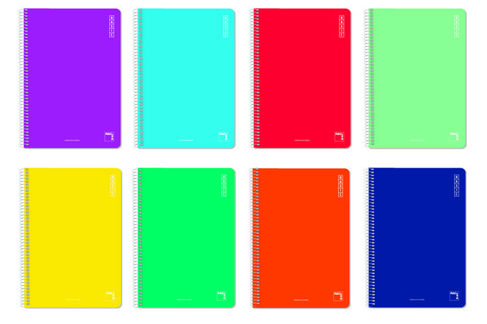 Bloc espiral fº 80h 60gr cuadricula 46 colores surtidos