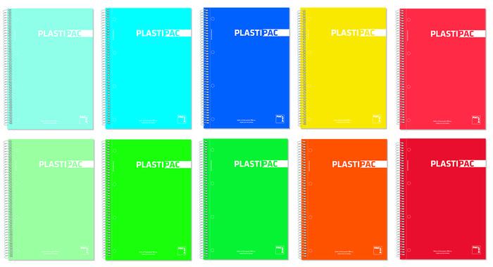 Bloc folio 80h 90gr pauta 3,5mm pp plastipac surtidos