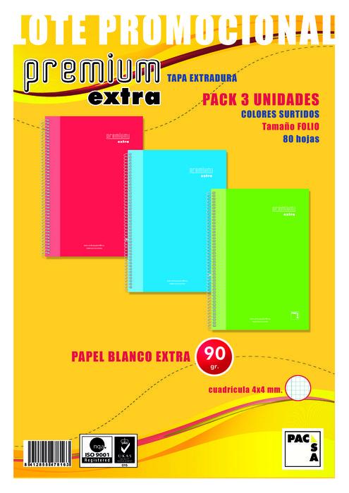 Pack 3 blocs folio cuadro 4mm premium extra 80h 90gr