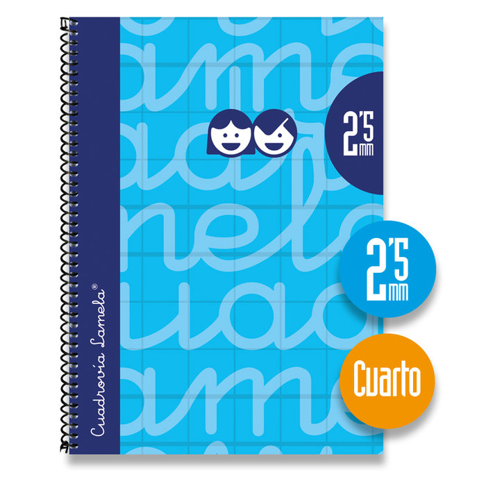 Cuaderno 4º forrado cuadrovia 2.5mm 80h tapa dura azul