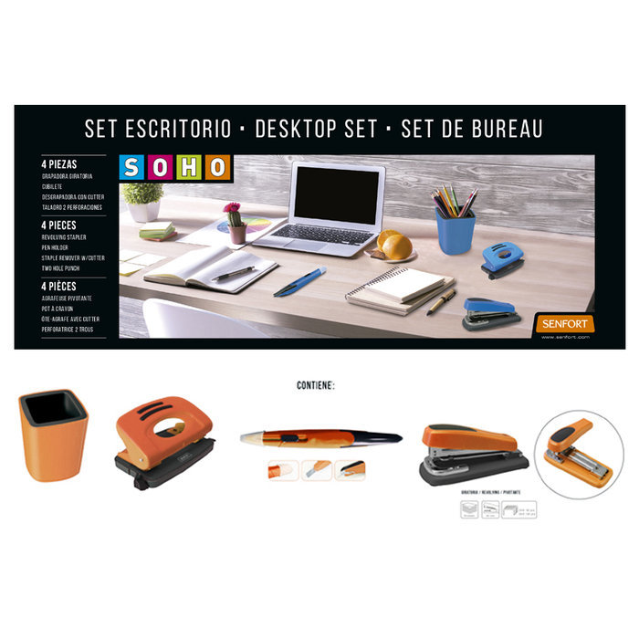 Set escritorio 4 piezas soho  naranja
