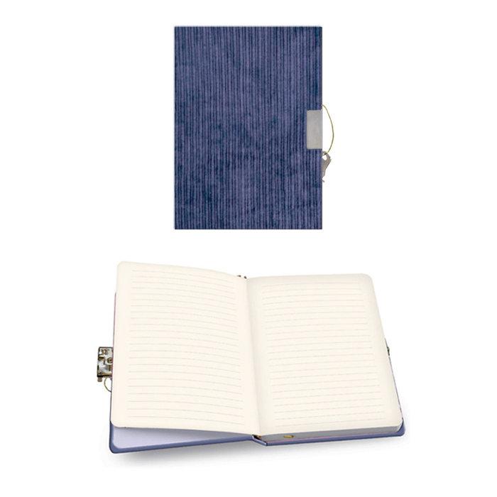 Diario con candado pana azul