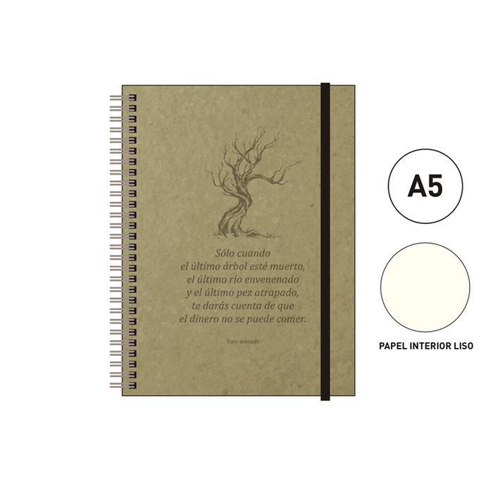 Cuaderno espiral a5 96 h liso eco cuir