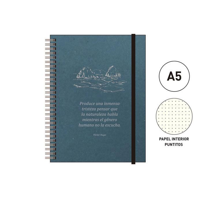 Cuaderno espiral a5 96 h. puntitos eco  azul