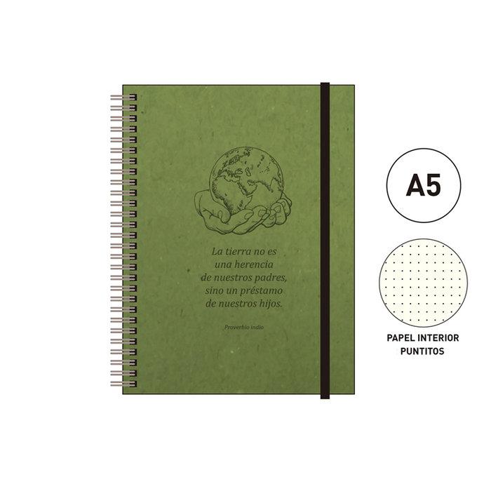 Cuaderno espiral a5 96 h. puntitos eco  verde