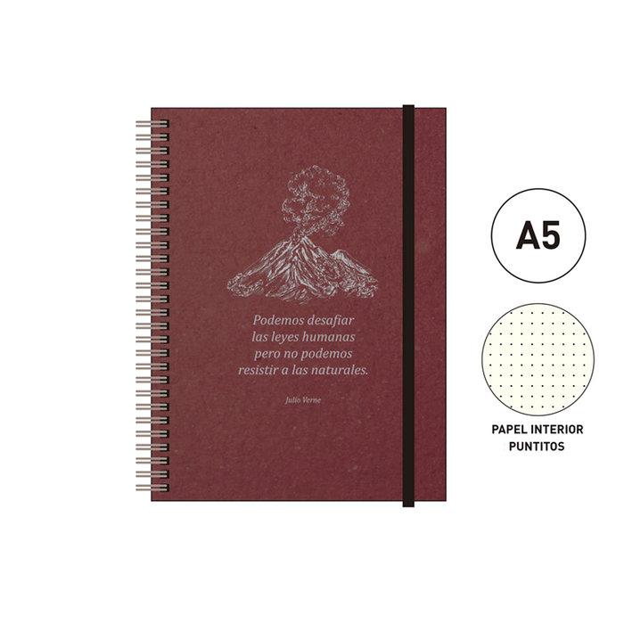 Cuaderno espiral a5 96 h. puntitos eco rojo