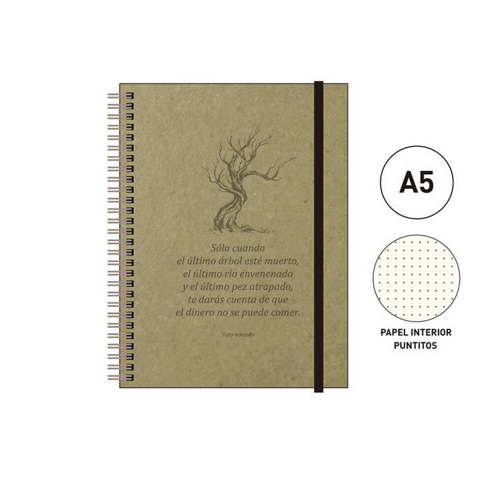 Cuaderno espiral a5 96 h. puntitos eco cuir