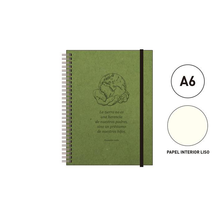 Cuaderno espiral a6 96 h. liso eco  verde