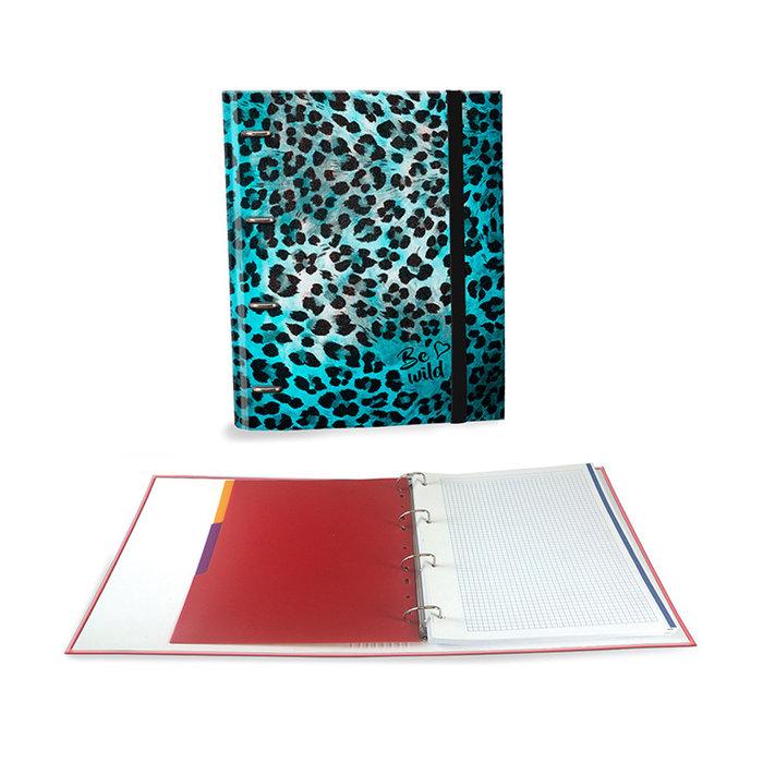 Carpeta a4 4 anillas c/recambio 4 separadores animal print a