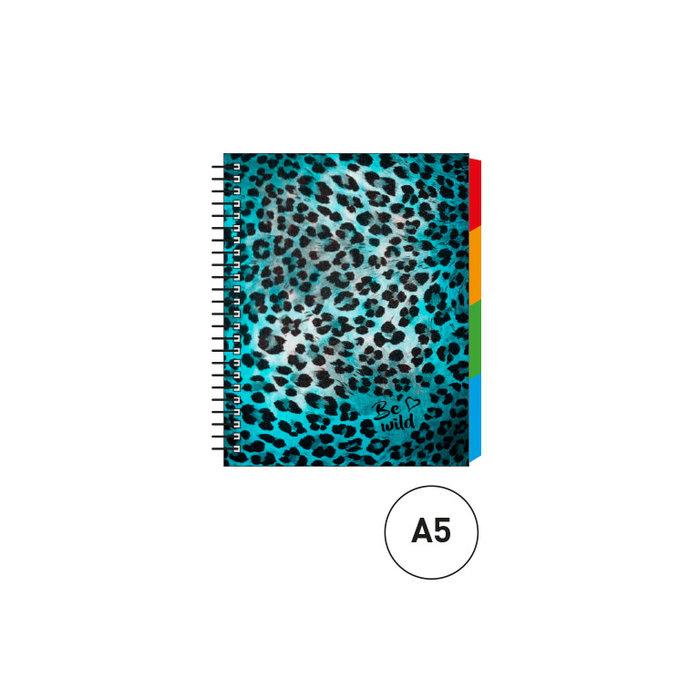 Cuaderno espiral a5 c/separadores animal print azul