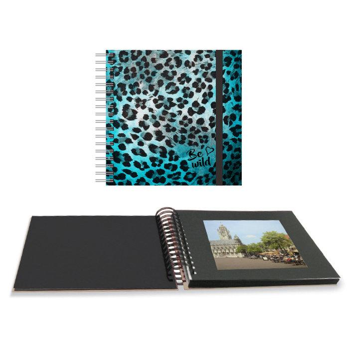 Album fotos espiral 25 x 25 cm animal print azul