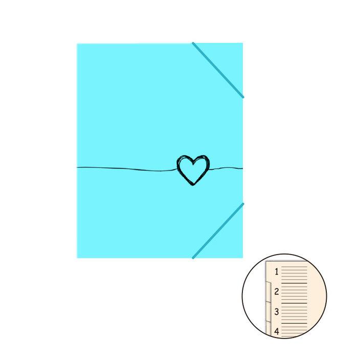 Carpeta clasificadora c/solapa heart turquesa
