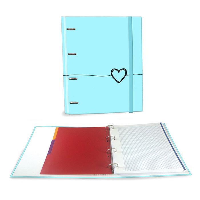 Carpeta carton a4 4 anillas c/recambio corazon turquesa
