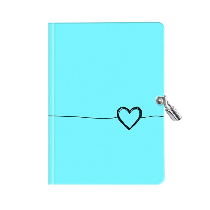 Diario con candado corazon azul